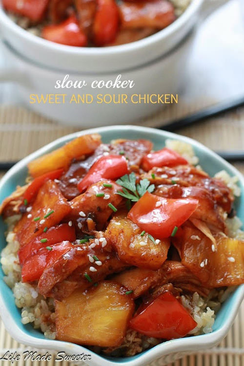 Slow Cooker Sweet and Sour Chicken with Pineapple & Bell Peppers