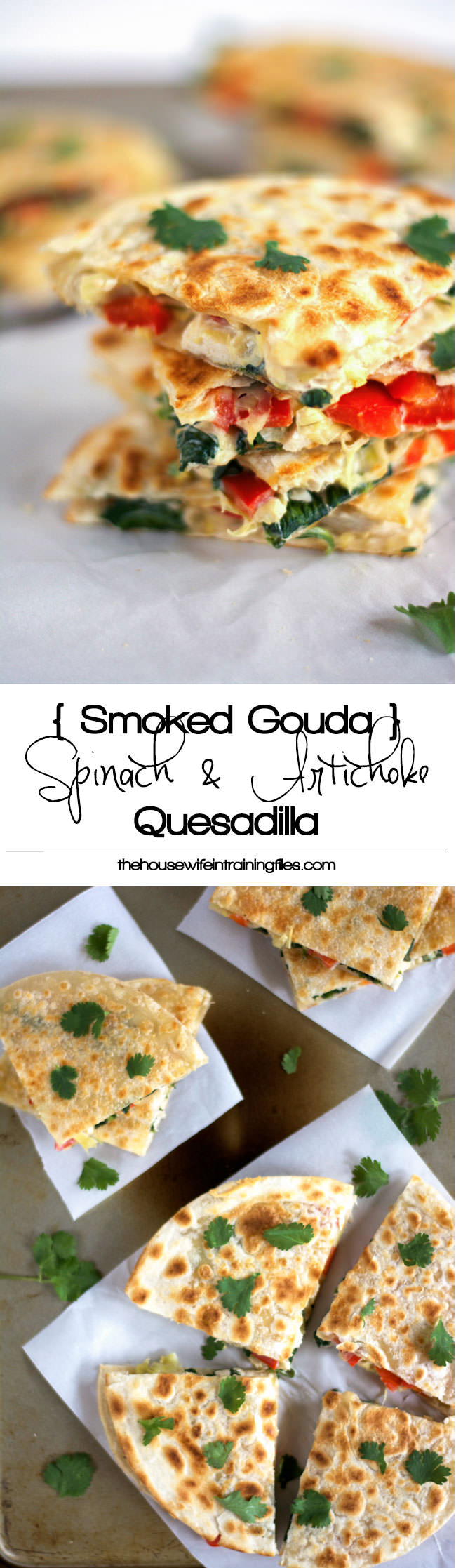 These Smoked Gouda & Turkey Artichoke Quesadillas come together quickly using leftover turkey, two types of cheese, red peppers and artichokes! They are a delicious and easy appetizer or light dinner!