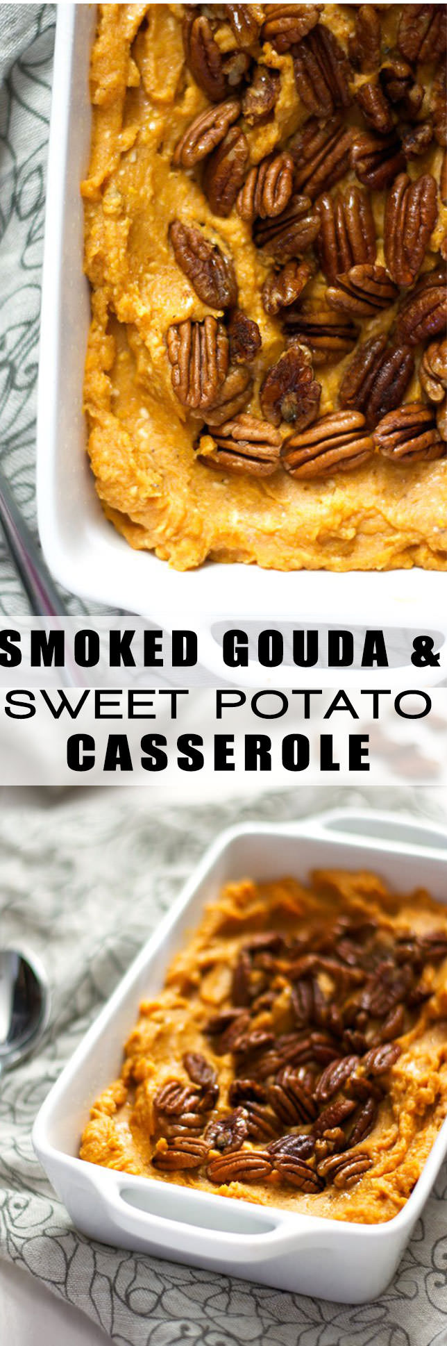 This Smoked Gouda and Sweet Potato Casserole with Spiced Pecans is the perfect fall side dish as it is made lighter with cauliflower but is full of sweet and spicy flavor!