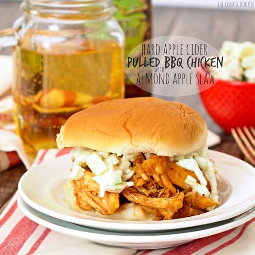 Hard Apple Cider Pulled Pork BBQ Chicken Sandwiches
