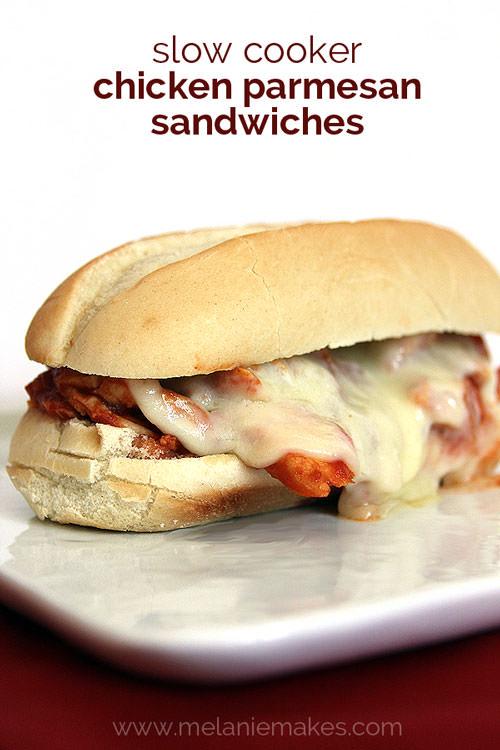 Slow Cooker Chicken Parmesan Sandwiches