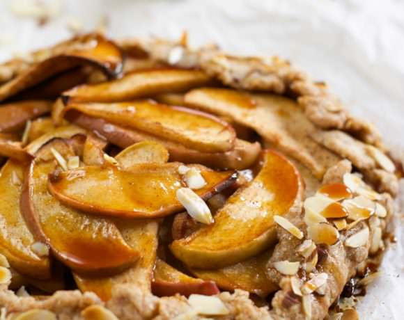 {Whole Wheat} Ambrosia Apple Galette with Salted Caramel Drizzle