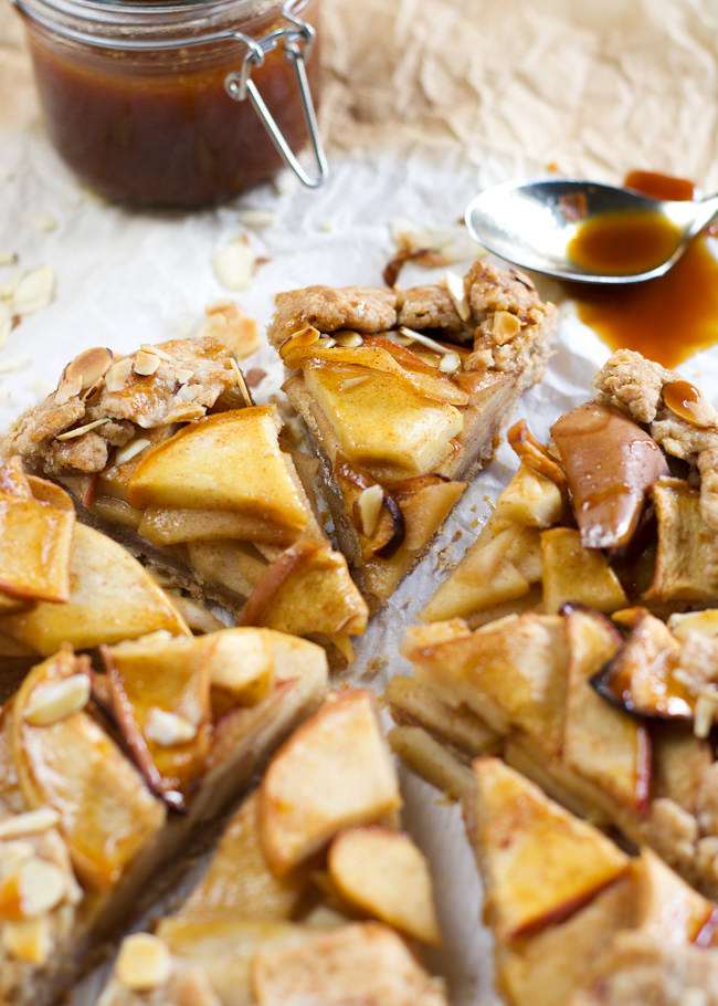 This rustic, whole wheat Ambrosia Apple Galette with Salted Caramel is wholesome, slightly sweet and easy to make! Topped with the homemade sauce, makes this dessert irresistible!