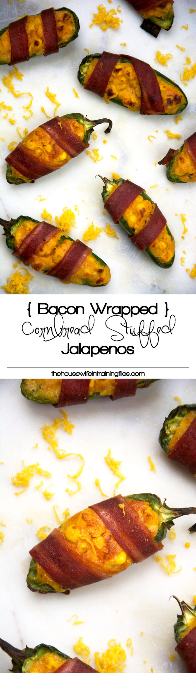 Cheesy Corn Stuffed Jalapenos will help you get out of that game day grub rut! Cheesy cornbread is stuffed into jalapenos, wrapped in turkey bacon then baked! Surprisingly healthy and completely irresistible!
