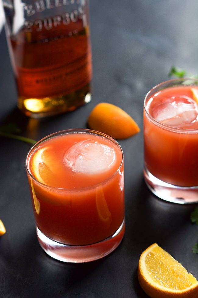 ... spiced with smooth bourbon, fresh blood orange juice and a touch of