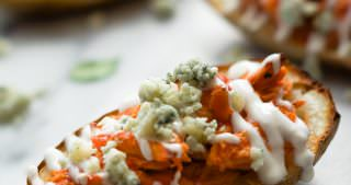 Buffalo Chicken Stuffed Potato Skins with Honey Blue Cheese Sauce