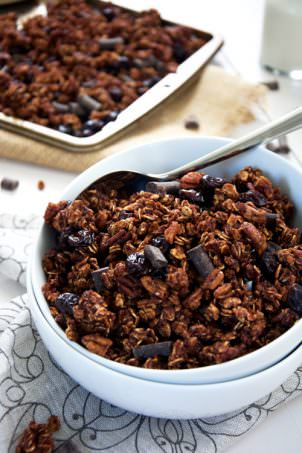 {Lightened Up} Dark Chocolate Chunk Cherry Granola with Pecans