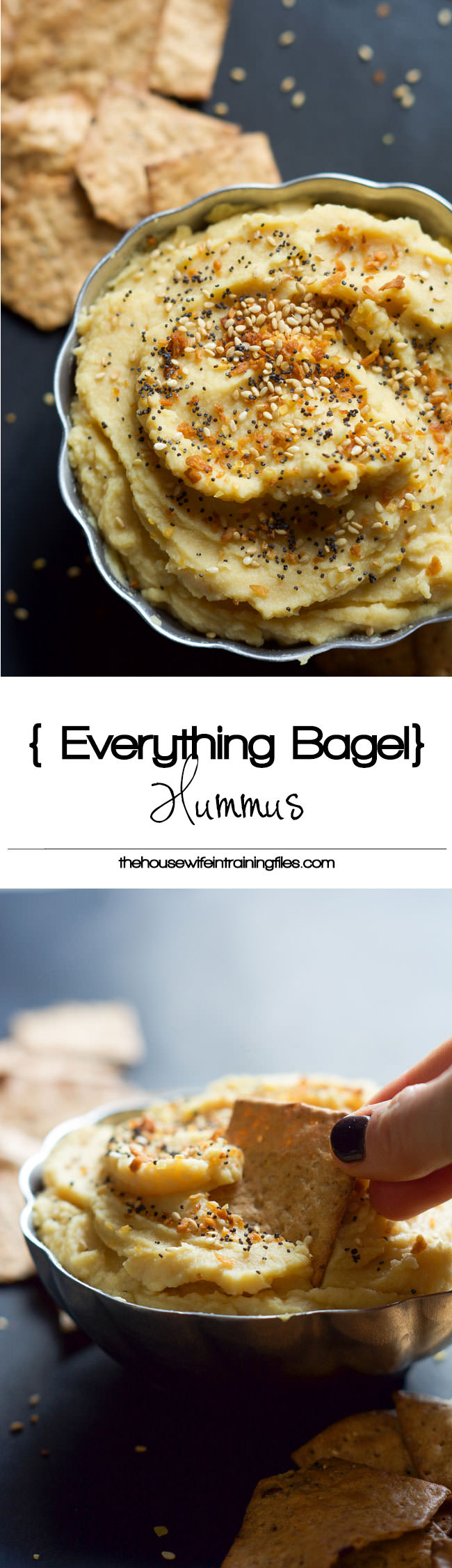 Everything Bagel Hummus has all the flavors you love of those classic bagels but in a healthy, gluten free form! Creamy chickpeas mixed with toasted garlic, dried onions then sprinkled with sesame seeds and poppy seeds!