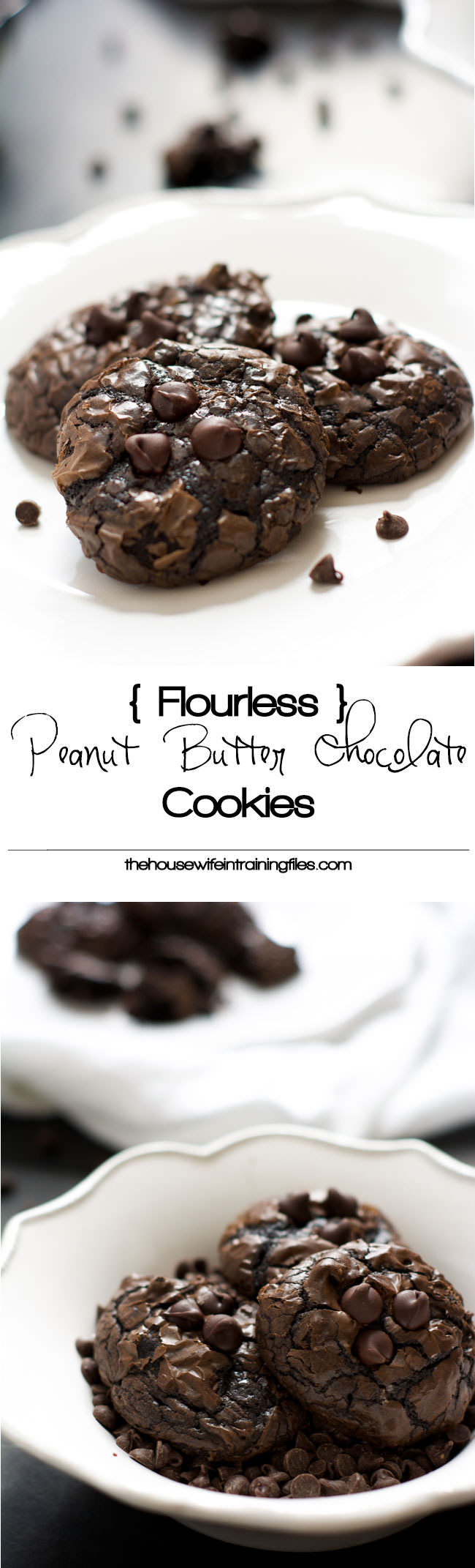 Rich and decadent Flourless Peanut Butter Chocolate Cookies are naturally gluten free and filled with two types of chocolate and creamy peanut butter!