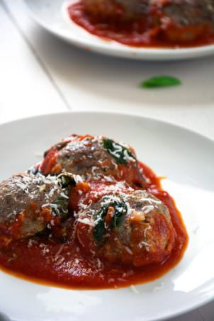 Goat Cheese Stuffed Meatballs with Rustic Tomato Sauce