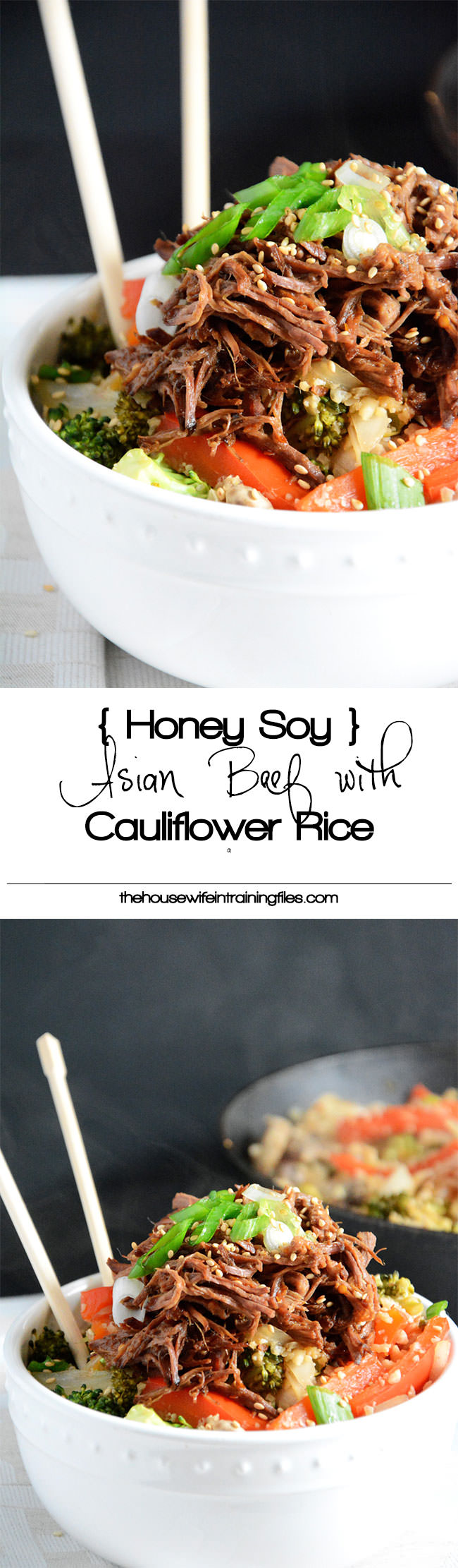Honey-Soy Asian beef simmered in the slow cooker until tender and served over low-carb cauliflower fried rice!