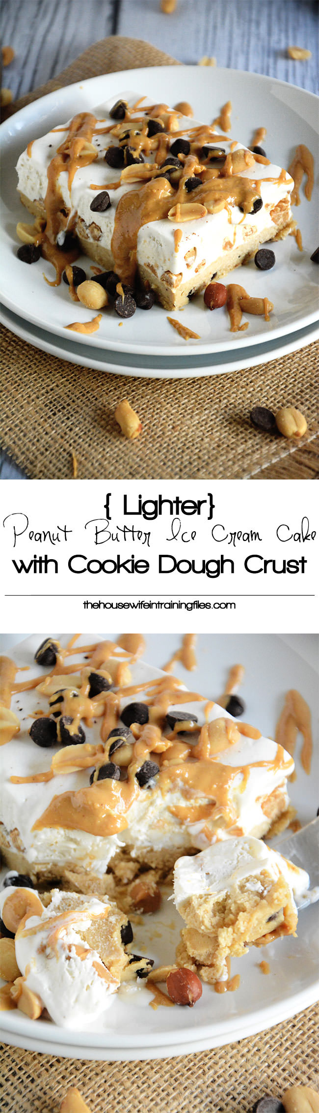 A creamy and rich peanut butter ice cream cake with a cookie dough base that will surprise everyone when they find out it is figure friendly!