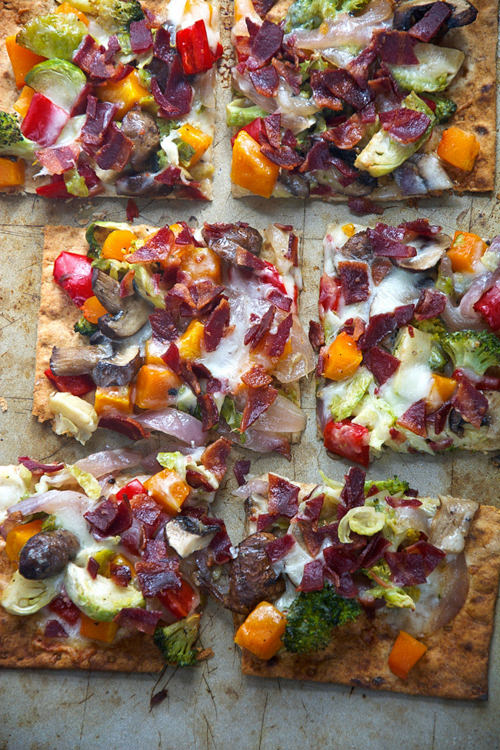 Maple Roasted Vegetabe Crispy Bacon Flatbread