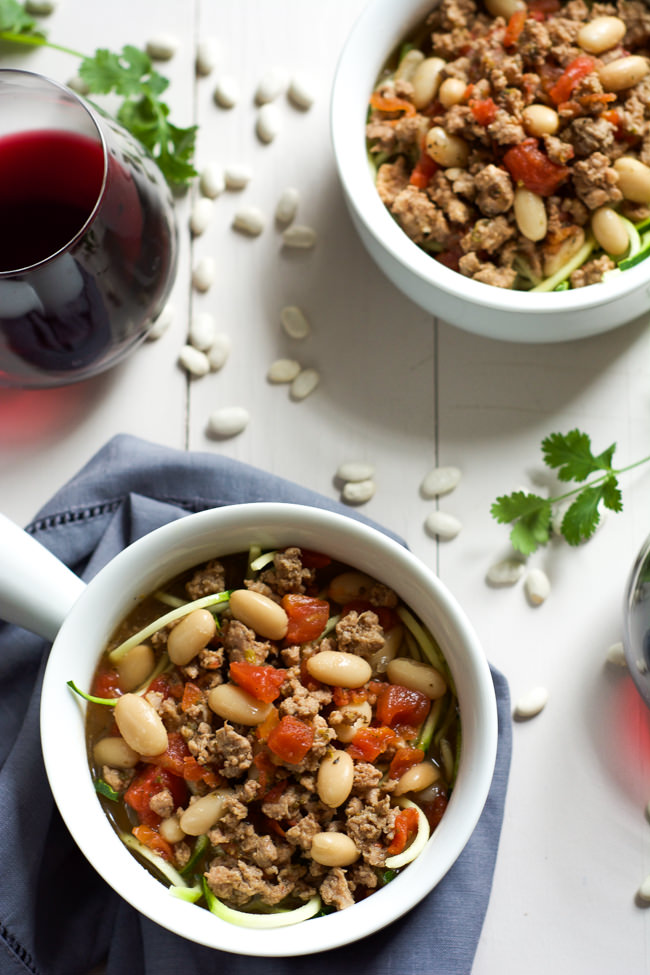 A quick and healthy 30 minute soup! Tuscan Italian Sausage and White Bean Soup with Zucchini Noodles is full of flavor yet lighter so you can indulge in a bowl or two!