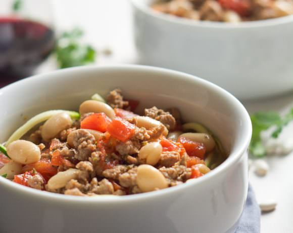 Tuscan Italian Sausage White Bean Soup with Zucchini Noodles