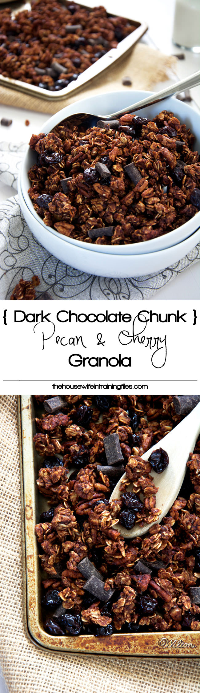 A lighter granola made with unsweetened applesauce and honey! Dark chocolate chunks, cherries and pecans make this skinny granola a decedent treat!  #glutenfree #granola #healthy
