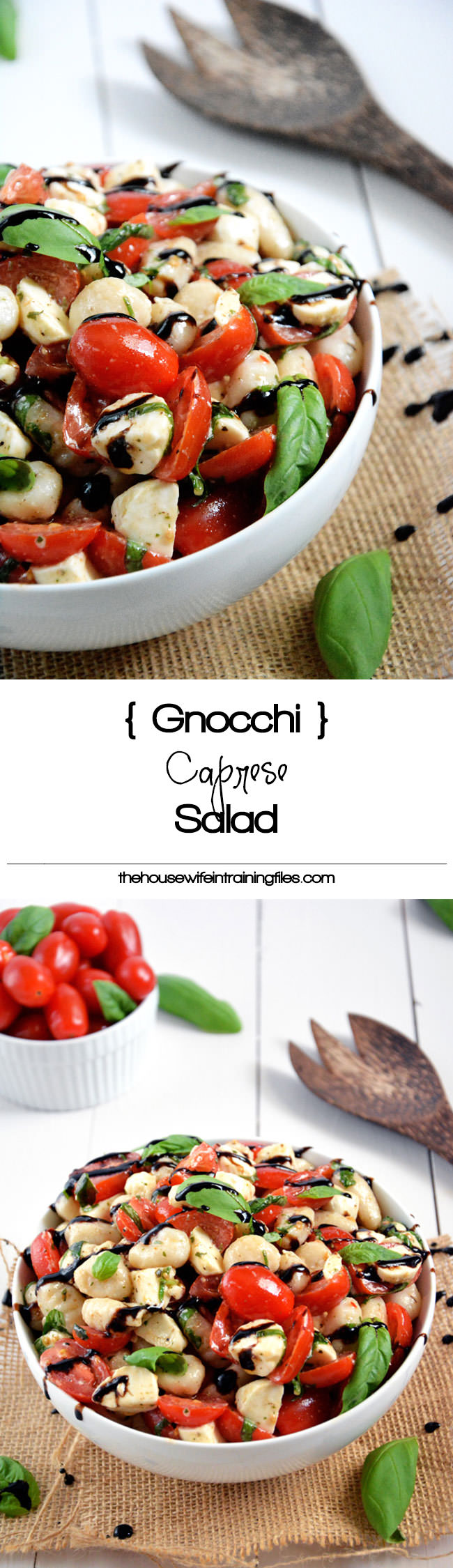 Caprese Salad gets made over and tossed with delicious gnocchi for an easy and wholesome, make ahead salad!
