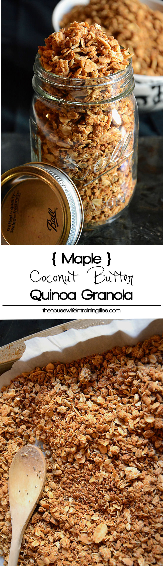 Maple Coconut Butter Quinoa Granola is a makeover of your favorite granola! Loaded with healthy ingredients - coconut, quinoa and oats - this will be your new go to snack! #granola #healthy #glutenfree #quinoa #breakfast