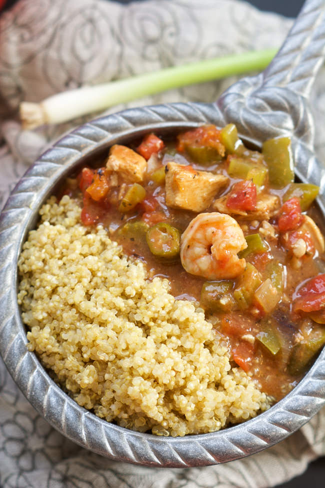 With only one pot, this spicy, healthy & easy Shrimp and Chicken Gumbo has a velvety sauce, served over quinoa. Plus it's ready in only 30 minutes!