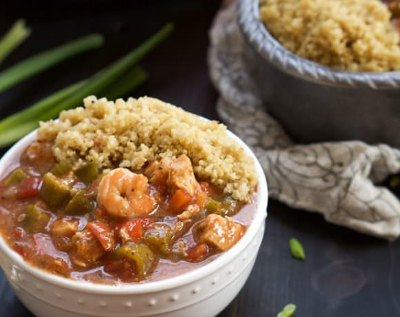 One Bowl Easy Shrimp and Chicken Gumbo
