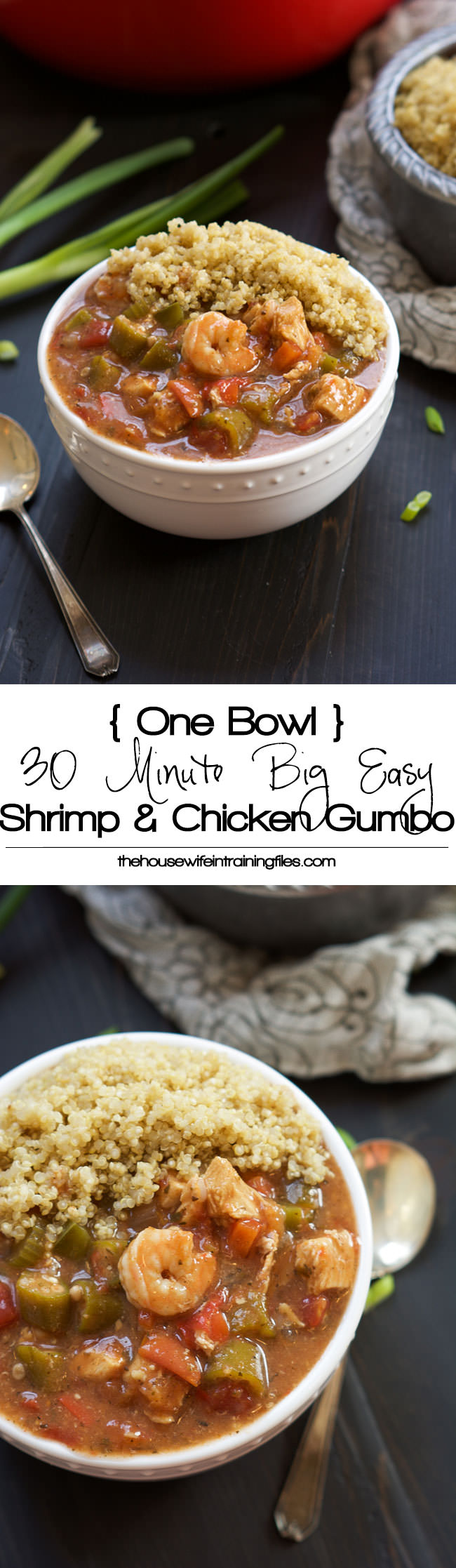 With only one pot, this spicy and healthy Spice and Chicken Gumbo has a velvety sauce, served over quinoa and is ready in only 30 minutes! #healthy #gumbo #madrigras #glutenfree