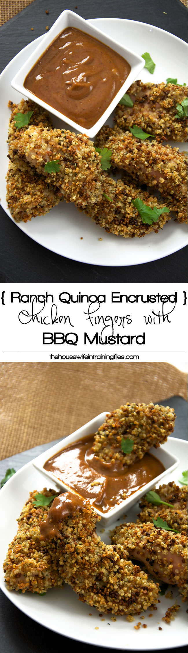 Chicken Fingers made over by encrusting in ranch seasoned quinoa for major crunch! And served with a two ingredient sauce of BBQ and mustard make for one delicious dinner! #glutenfree #chickenstrips #BBQ #dinner