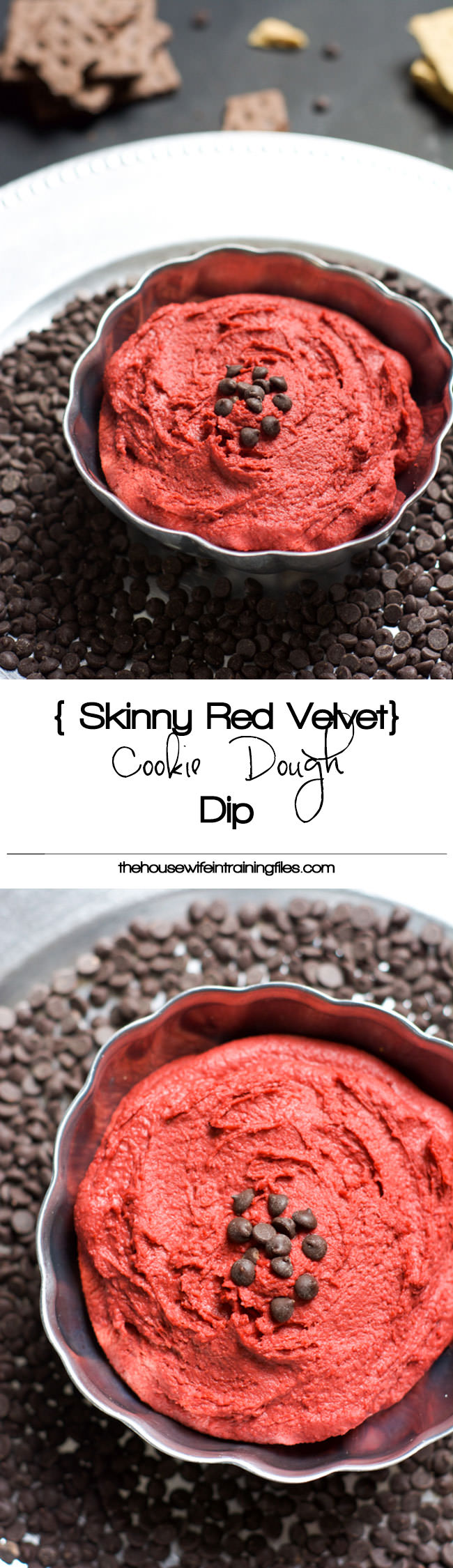 Skinny Red Velvet Cookie Dough Dip is secretly healthy that is full of cookie dough flavor but none of the guilt! A dessert you can feel good about indulging in! #cookiedoughdip #healthy #skinny #redvelvet