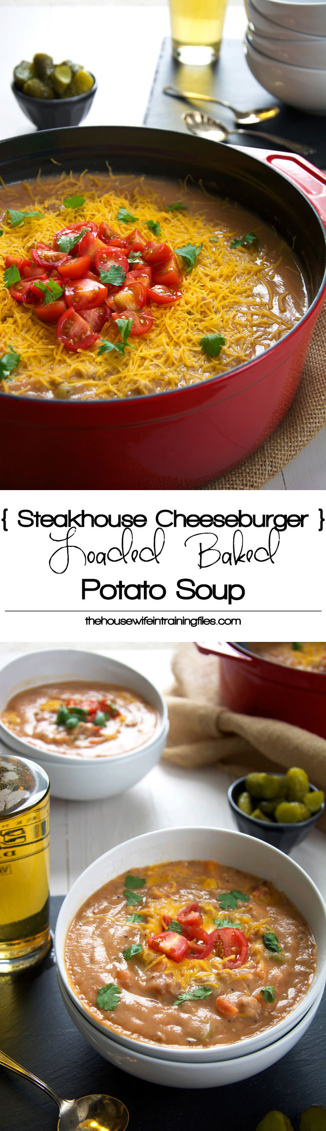 All the flavors of a juicy burger and loaded baked potato soup in one bite in this ultra creamy, delicious and lighter recipe! #glutenfree #potatosoup #cauliflower #skinny