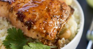 Agave Chipotle Glazed Salmon with Macadamia Cauliflower Rice
