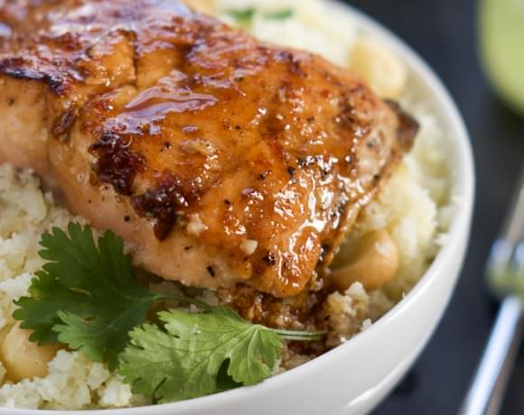 Agave Chipotle Glazed Salmon with Macadamia Cauliflower Rice