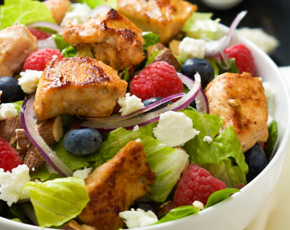 Blueberry & Goat Cheese Chicken Salad with Peanut Dijon Dressing