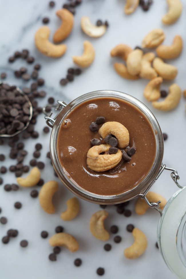 This creamy Salted Dark Chocolate Cashew Butter is couldn't be any simpler to make as it only has 4 ingredients! Better double the batch as it will go fast!