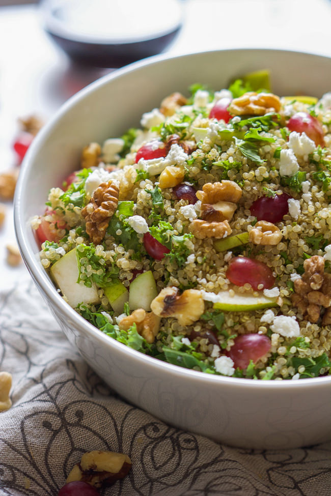 Walnut Grape Kale Quinoa Salad With White Balsamic Dressing Is A Salad That Is