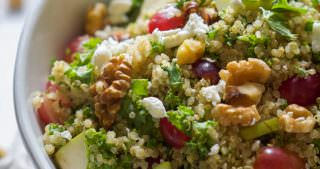 Walnut, Grape & Kale Quinoa Salad with White Balsamic Dressing