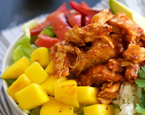 Mango, Black Bean & BBQ Chicken Rice Lettuce Bowls with Chile Lime Vinaigrette