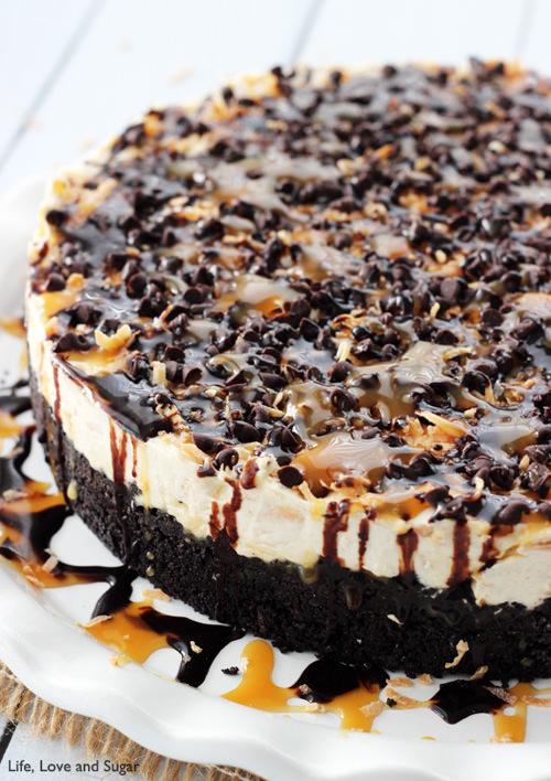 No Bake Samoa Cheesecake | Life Love and Sugar