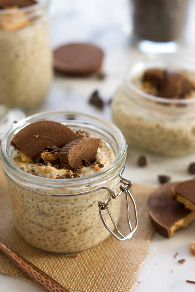 dessert inspired snack, Peanut Butter Cup Chia Seed Pudding is ...