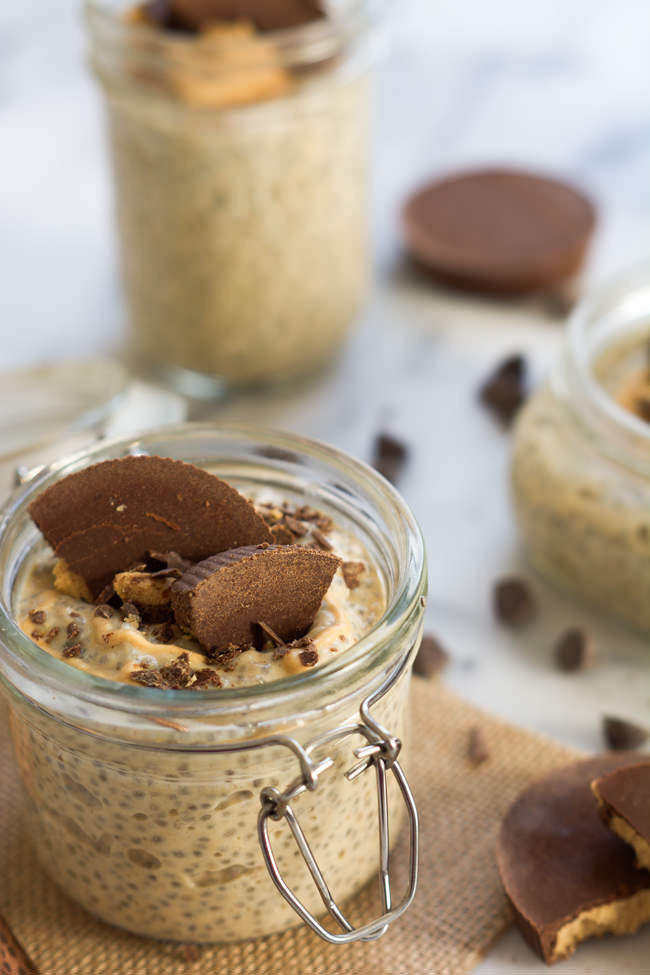 A dessert inspired snack, Peanut Butter Cup Chia Seed Pudding is healthy, filling and filled with good for you ingredients that will help power you through your day!
