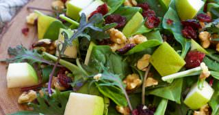 Pear, Blue Cheese & Cranberry Spinach Salad with Honey Pecans