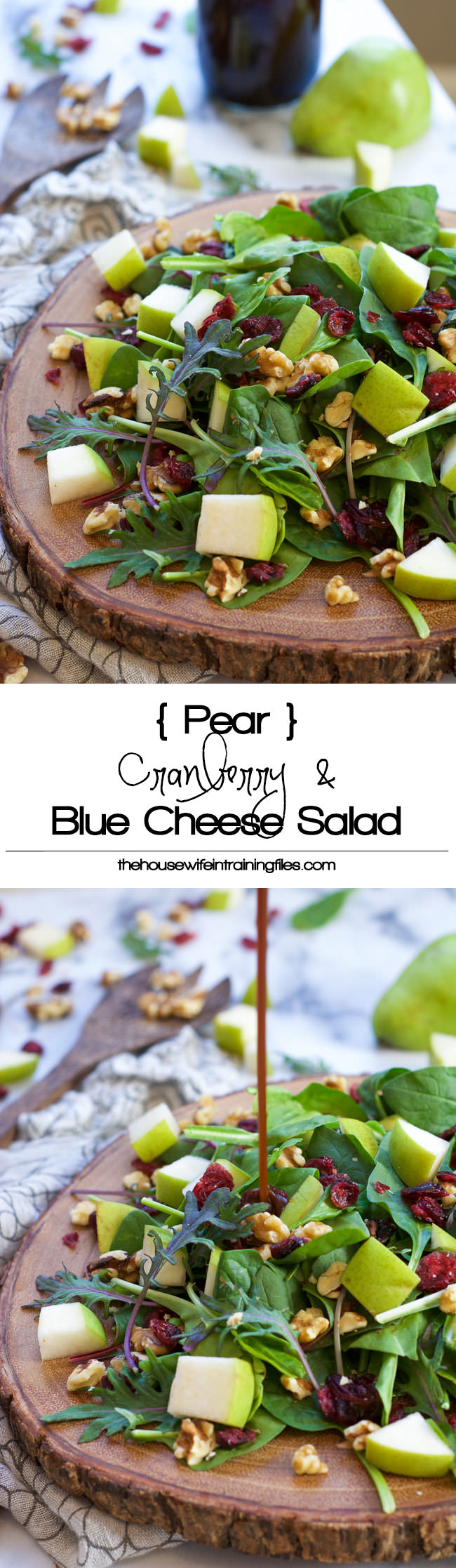 This Cranberry Spinach Salad is filled with slightly sweet pears, tart dried cranberries, creamy blue cheese and honey pecans! A sweet and savory salad that is on your table in 5 minutes! #glutenfree #salad #cranberries #healthy