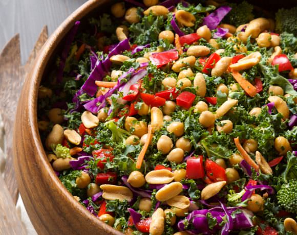 Rainbow Kale Power Salad with Peanut Dijon Dressing