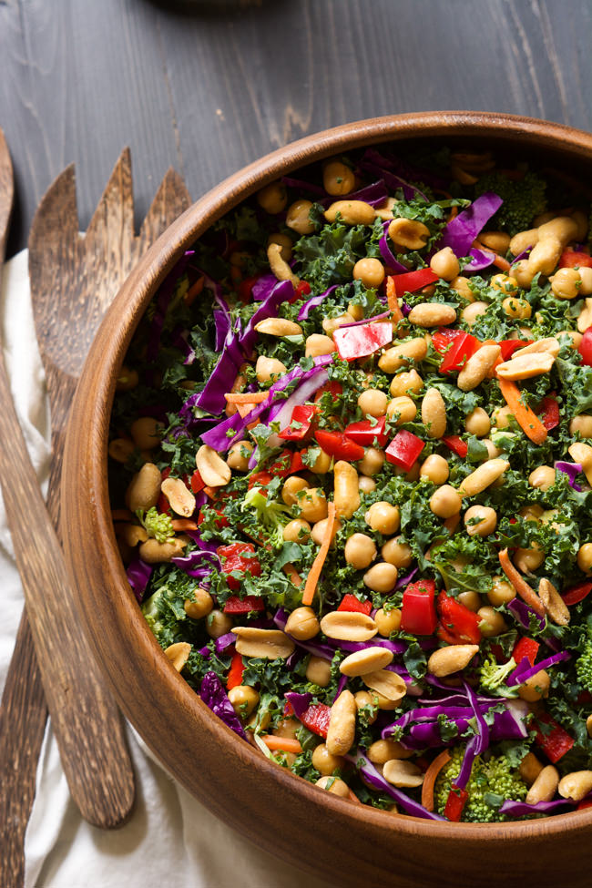 Rainbow Power Kale Salad with Peanut Dijon Dressing from With Salt and Wit on foodiecrush.com