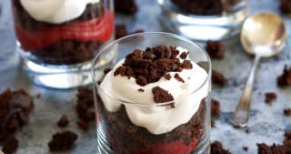 Red Velvet Cookie Dough Brownie Parfaits