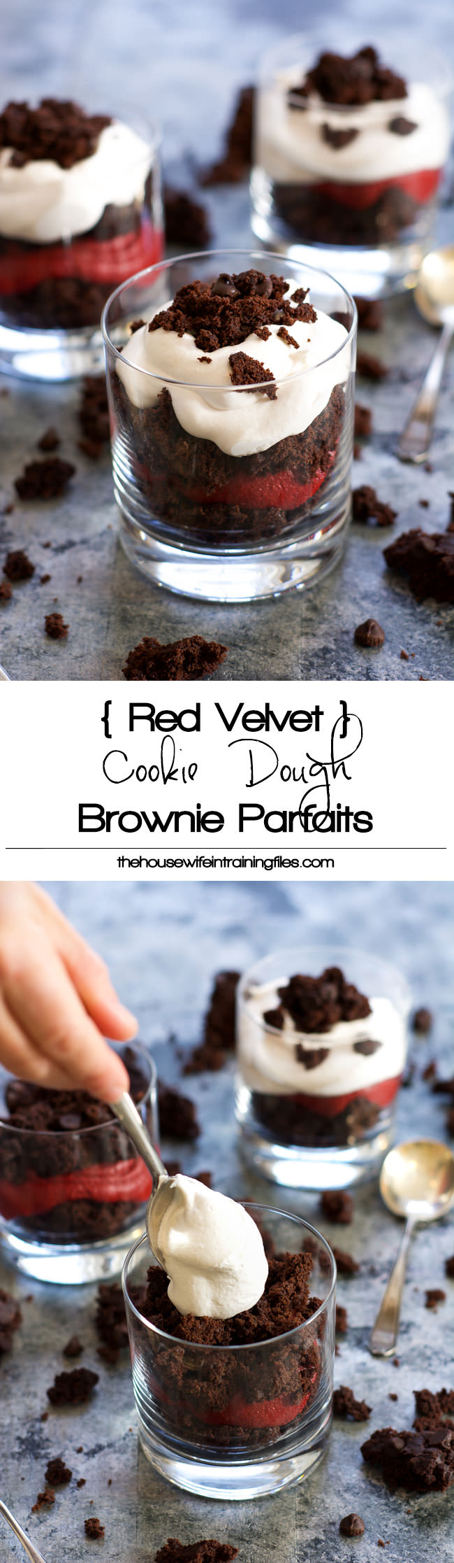 A simple three ingredient dessert that is perfect for a date night in or to just cure that sweet tooth! Red Velvet Cookie Dough Brownie Parfaits take minutes to put together with already made ingredients!