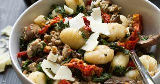 {30 Minutes} Tuscan Kale & Sun Dried Tomato Chicken Sausage Gnocchi