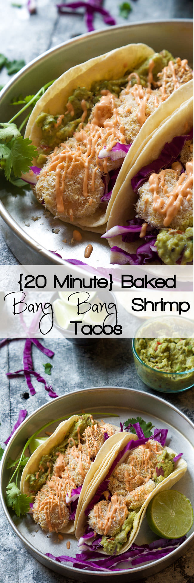 A skinny makeover of a restaurant classic! Skinny Baked Bang Bang Shrimp Tacos combine two of my favorites into one flavorful dish that is ready in 20 minutes! #glutenfree #bangbangshrimp #Mexican #Tacos