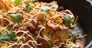 Cheesy BBQ Chicken Sweet Potato Nachos