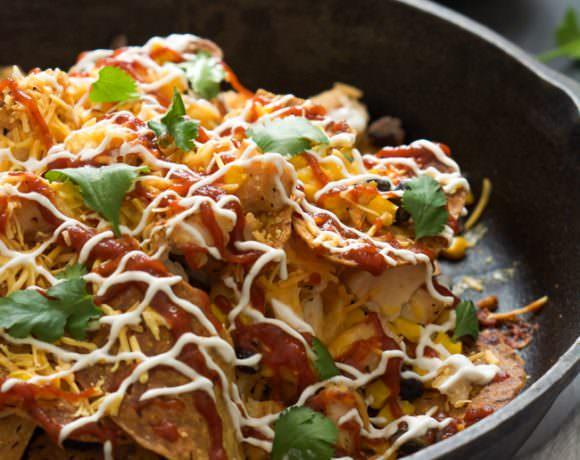 Cheesy BBQ Chicken Sweet Potato Nachos