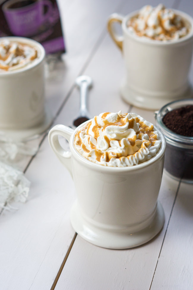 Whipped Caramel Macchiato is a combination of creamy vanilla milk, fresh coffee and topped with whipped cream and a drizzle of gooey caramel! Add a bit of Whipped Vodka for a boozy cafe latte or leave it out for a treat anyone can enjoy!