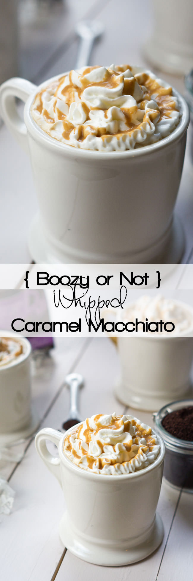 Whipped Caramel Macchiato is a combination of creamy vanilla milk, fresh coffee, topped with whipped cream and a drizzle of gooey caramel! Add a bit of Whipped Vodka for a boozy cafe latte or leave it out for a treat anyone can enjoy!